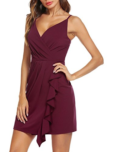Draped Cocktail Mini Dress (Instom Women's Sexy Summer V-Neck Draped Ruffle Ruched Cocktail Wrap Dress)