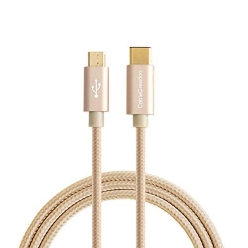 USB C to Micro USB, CableCreation USB Type C to Micro USB 2.0 Charging & Data Cable, USB Type C Devices to Android Devices, 1.2m/4 feet, Gold Braided with Aluminum