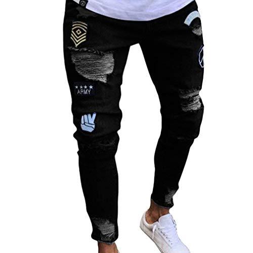 Hombre Elástico Hip Tamaños Orificios Desgastados fashion Hop Cómodos Rasgados Pantalones Streetwear Denim Jeans HX Agujeros Jeans Negro Ropa Cierre 5qP1W