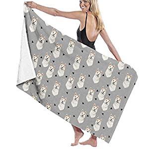 NiYoung Akita Dog Triangles Pattern Bath Towels for Bathroom Hotel Spa Kitchen Set 100% Polyester Fiber Highly Absorbent Hotel Quality Towels 10