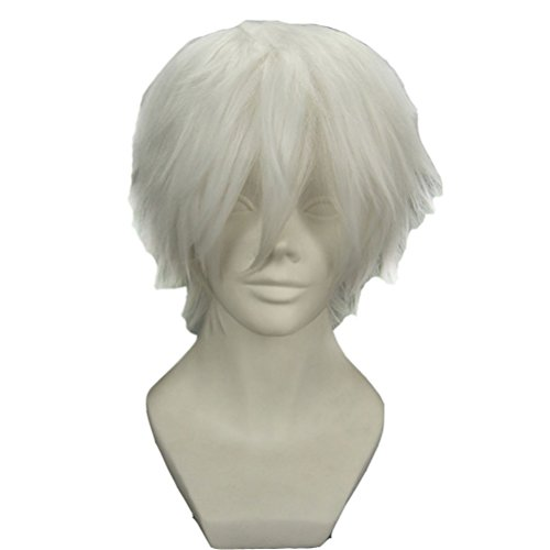Funny Mens Wigs (BERON Cool Men Short Straight Cosplay Costume Party Funny Wigs (Silvery)