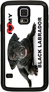Rikki KnightTM I Love My Black Labrador Dog Black Galaxy S5 Tough-It Case Cover for Galaxy S5 (Double Layer case with Silicone Protection and thick front bumper protection)