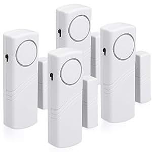 kwmobile Alarma para puertas y ventanas - set de 4 protecciones antirrobo incl. baterías - alama inalámbrica - 100dB intensidad acústica - Seguridad ...