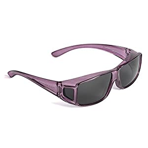 Over Glasses Sunglasses - Polarized Fitover Sunglasses with 100% UV Protection - Style 2 By Pointed Designs (Purple)