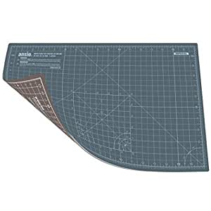 ANSIO Cutting Mat Self Healing A3 Double Sided 5 Layers Imperial/Metric 17 Inch x 11 Inch / (44cm x 29cm) -Grey/Brown