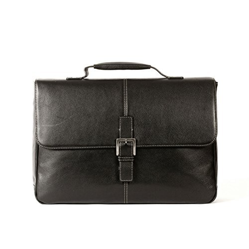 Boconi Tyler Tumbled Brokers Bag (Black with Khaki)