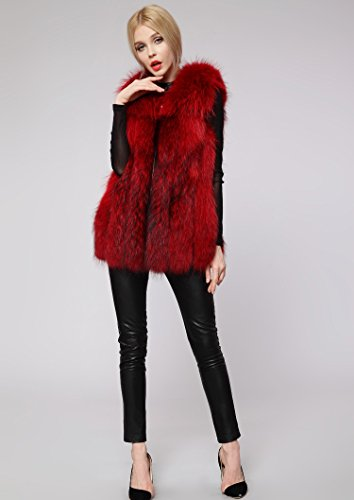 rouge FOLOBE faux inverno donne di pelliccia del cappotto delle Womens di Rivestimento della del Vin rf06wqr