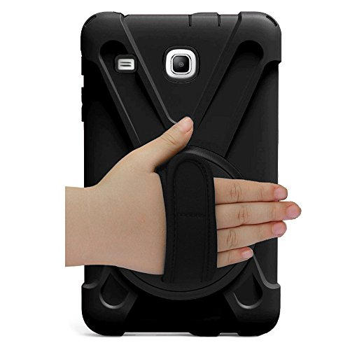 Galaxy Tab E 8.0 Case Cover by KIQ TM Hybrid Protective Shield Case Cover w/ Palm Handstrap for Samsung Galaxy Tab E 8.0 SM-T377 (Shield Black) by KIQ (Image #1)