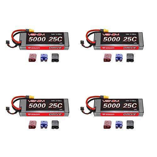 - Venom 25C 2S 5000mAh 7.4V Hard Case LiPo Battery with Universal 2.0 Plug (Traxxas / Deans / EC3) x4 Packs