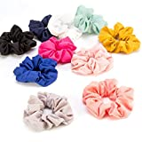 10 Pack Hair Scrunchies Women's Chiffon Flower Hair Bow Chiffon Ponytail Holders (A)