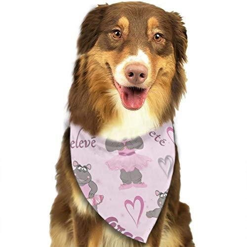 ZZJIAK Dog Bandana Scarf Hippo Ballerina Dancer Triangle Bibs Printing Kerchief Set Accessories Dogs Cats Pets -