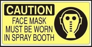 Caution Face Mask Must Be Worn In Spray Booth Sticker JB Company S2S8056-D1