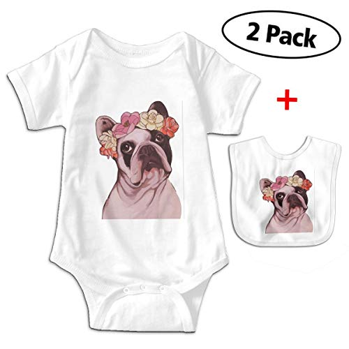 Bulldogs Pillow Santa (Leopoldson Frenchie French Bulldog Rose Baby Bodysuits Short Sleeve Infant One-Piece with Baby Bib)