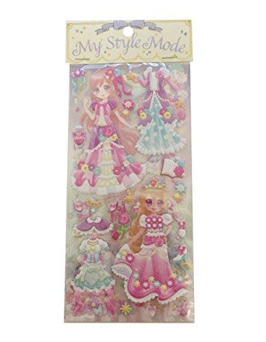 Fairies Glitter Sticker Sheets - Dress-up Princess Kawaii Doll Puffy Glitter Stickers Play Set 2-Sheets My Style Mode Collection1 Set per Order (Fairy Garden Princess)