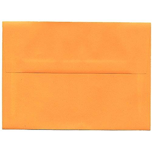 "JAM Paper A7 Invitation Envelopes- 5 1/4"" x 7 1/4"" - Brite Hue Ultra Orange - 25/pack"