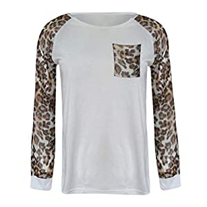 WOCACHI Womens Leopard Blouses Long Sleeve Fashion Ladies T-Shirt Oversize Tops Button Plus Size Sheer Loose 2019 Spring New Arrival 30% Off Deals Under 10 5 Valentine Girlfriend Gift