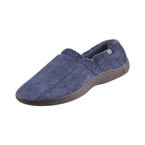Isotoner Men's Microterry Slip On Slippers with Memory Foam,  Navy,  XX-Large A95019NAVXXL