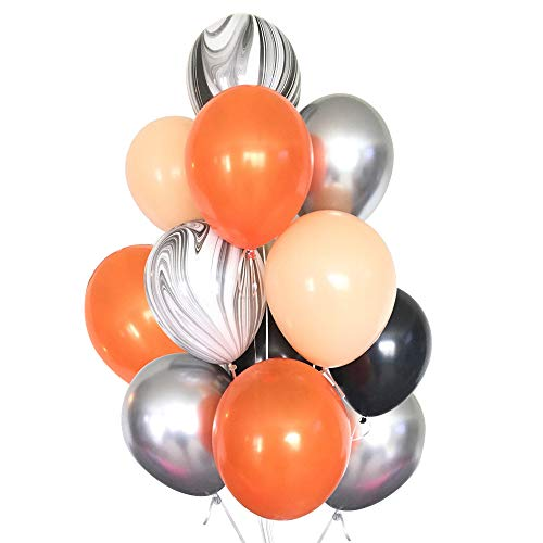 DIY Halloween Balloons 30pcs Orange Peach Agate Silver Black Balloons for Wedding Birthday Party Halloween -