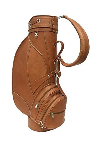 Piel Leather Golf Bag w Umbrella Slot & Detachable Hood in Saddle by Piel Leather