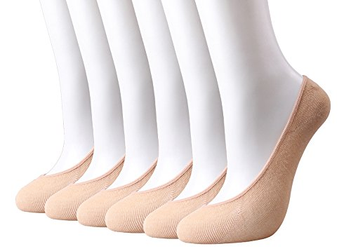 HeyUU Womens Bamboo Non Slip No Show Invisible Liner Socks 6-Pack (Shoe Size 6-10, 6Pairs-Beige)