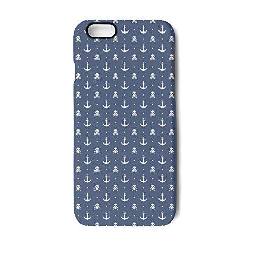 White Anchor and Skull Bones Blue Phone Case for iPhone 6,6S Dual Layer Protection TPU Anti-Fingerprint Anti-Scratch Fashionable Glossy Soft Anti Slip Thin Shockproof Slim