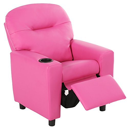 Harper&Bright Designs Kids Recliner with Cup Holder PU Leather Sofa Chair for Child (Pink) by Harper&Bright Designs