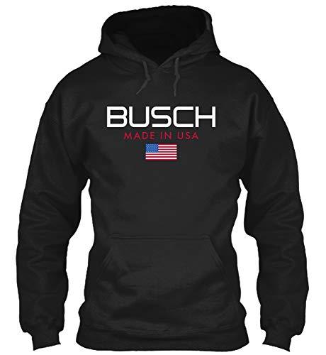 Busch Made in USA M - Black Sweatshirt - Gildan 8oz Heavy Blend Hoodie ()