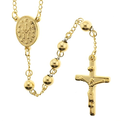 Gold Plated Rhodium Rosary with 6mm Beads 26 Necklace Blessed Virgin Mary Symbol Centerpiece 18 Overall -Solid Feel
