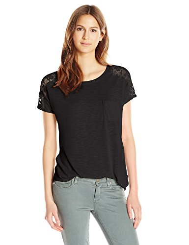 - Paper + Tee Women's Short Sleeve Lace Trim Shoulder Top, Black, Medium
