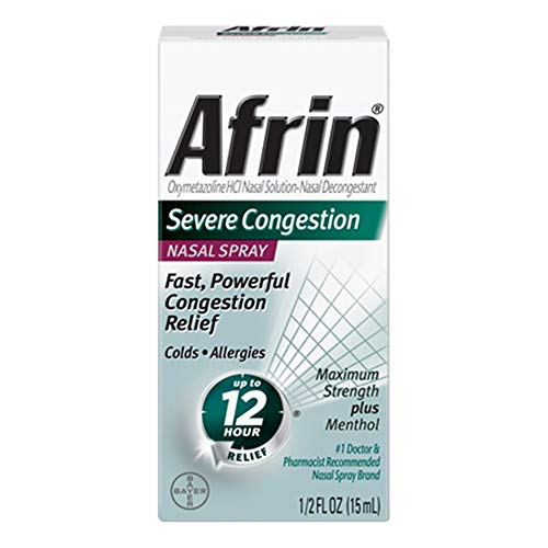 Afrin Nasal Spray Severe Congestion 15 mL (Pack of 4) (Best For Nasal Congestion)