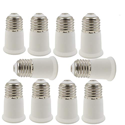 (E26 to E26 Socket Extender, E26 to E27 Lamp Holder Adapter,Fits LED/CFL Light Bulbs, Heat-resistant, Anti-burning (10 Pack))