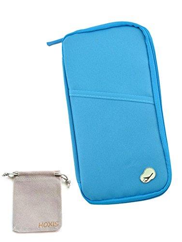 HOXIS (R)Travel Wallet With Closure Zip Document Organiser Passport Ticket Holder BLUE