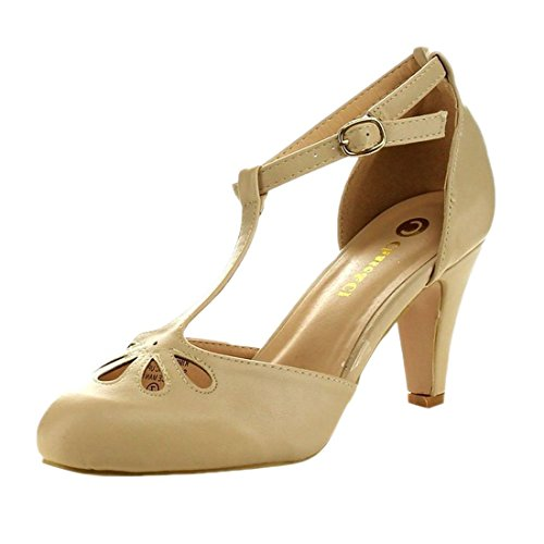 Chase & Chloe Kimmy-36 Women's T-Strap Mid Heel Dress Pumps Nude 9 B(M) US KIMMY-36