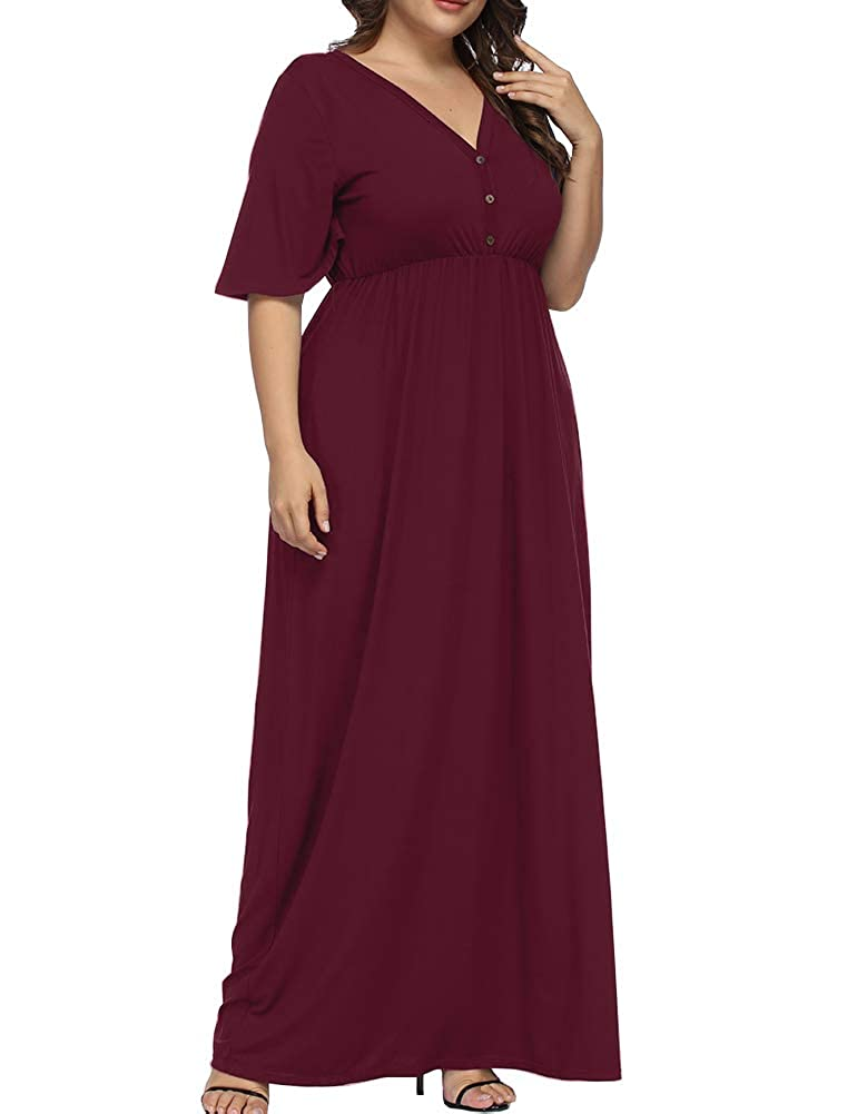 96c08018521 Allegrace Women s Plus Size V Neck Button up Maxi Dress Bell Sleeve Beach  Long Dresses Wine 1X at Amazon Women s Clothing store