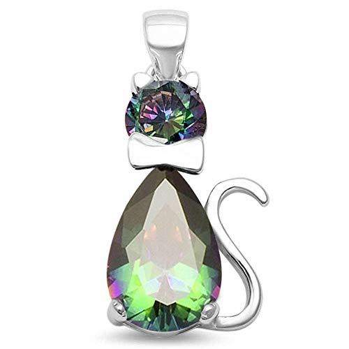 (Oxford Diamond Co Sterling Silver Simulated Gemstone Cat Feline Charm Pendant (Rainbow Cubic Zirconia))