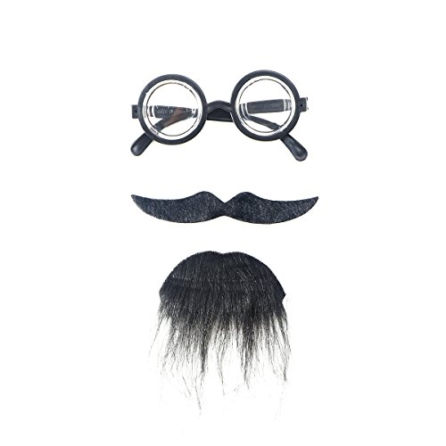OULII Three-piece Novelty Halloween Costumes Self Adhesive Fake Eyeglasses Beard Moustache Goatee Kit Facial Hair Cosplay Props For Masquerade Costume Party]()