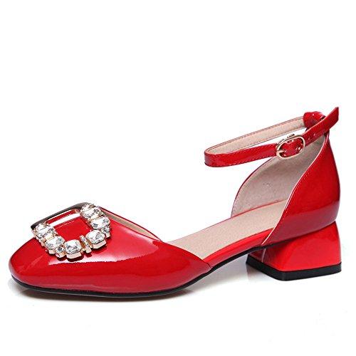 MLOVES Cuero Moda Puntera Cuadrada Sandalias de Tacón de Grueso con Correa de Tobillo para Mujer Rojo