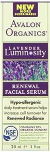 Avalon Organics Lavender Luminosity Renewal Facial Serum, 1 Ounce Bottle