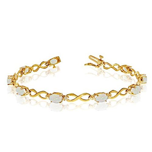 October Birthstone Oval Shaped Opal and Round Cut Diamond Infinity Bracelet in 14k Yellow Gold 4.53ct 14k Yellow Gold Opal Bracelets