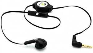 Fonus Black Retractable 3.5mm Mono Handsfree Headset Earphone Single Earbud with Microphone for iPhone 5S, 5C, 5, 5G - iPhone 4S 4 3GS (AT&T, T-Mobile, Alltel, Boost, Virgin Mobile, Sprint, Verizon, Net10, Straight Talk, Cricket, US Cellular)