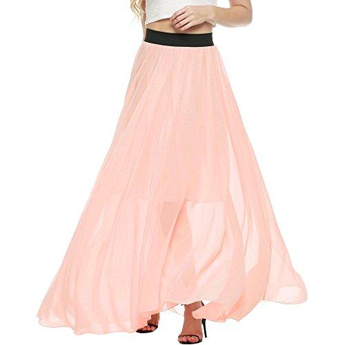- ELESOL Women's Pure Color Stretchy Waist Solid Chiffon Long Skirts Flowy Dress Nude/XXL