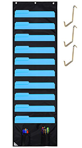 COMPONO Hanging File Folder Organizer, 10 Pockets & 3 Hangers Cascading Wall Organizer, Perfect for Home Organization, School Pocket Chart, Office Bill Filing,Wall or Over Door Mount, 2 BONUS POCKETS by COMPONO