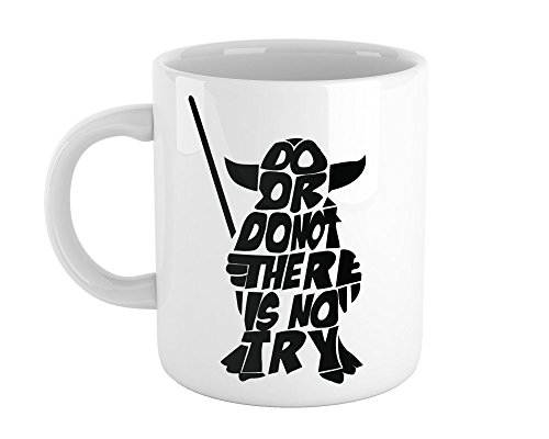 (Print Lodge - Do Or Do Not, There Is No Try - 11oz Coffee Mug | Best Inspirational Yoda Gift Fan Art)