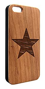 Genuine Maple Wood Organic Textured Star Snap-On Cover Hard Case for iPhone 5/5S