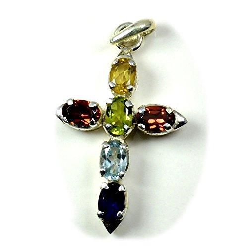 Gemsonclick Natural Multi Color Gemstone Pendant Cross Sign Divine Locket 925 Sterling Silver for Girls