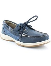 Women's Blue Cognac Intrepid Boat Shoe 5.5M