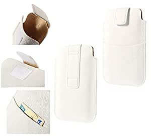 DFV mobile - Leather pouch case pocket sleeve bag with velcro & outer bag & buckle for => ZLR i6 > White