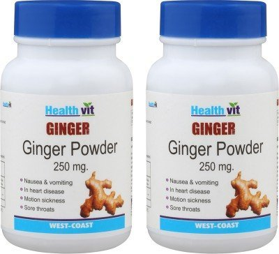 Healthvit Ginger Powder 250Mg - 60 Capsules (Pack Of 2) from Healthvit