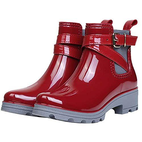 Stivaletti in 01 Stivali da Bassi Rain Scarpe Chelsea Moda Boot Pioggia Donna Gomma SUADEEX rosso Caviglia Impermeabili Antiscivolo EHaq8Aw