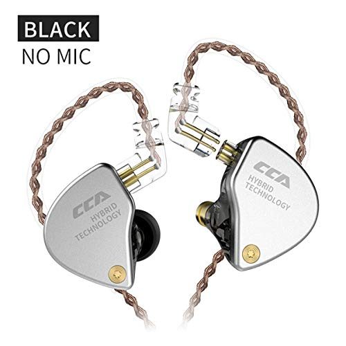 CCA CA4 Hybrid Dynamic and Balanced Armature 1BA 1DD In-ear Earphones with High Resolution, Noise Canceling earphone. IEM with Detachable 0.75mm 2pin Connector and 3.5mm Plug Without MIC, Black
